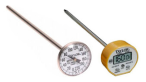thermometers for measuring water and milk replacer temperature